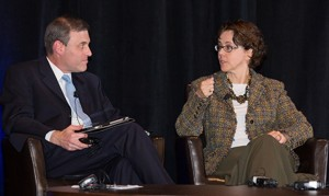 Doug Levin in discussion with Cecilia Muñoz, Assistant to President Barack Obama and Director of the White House Domestic Policy Council at the 2013 SETDA Leadership Summit
